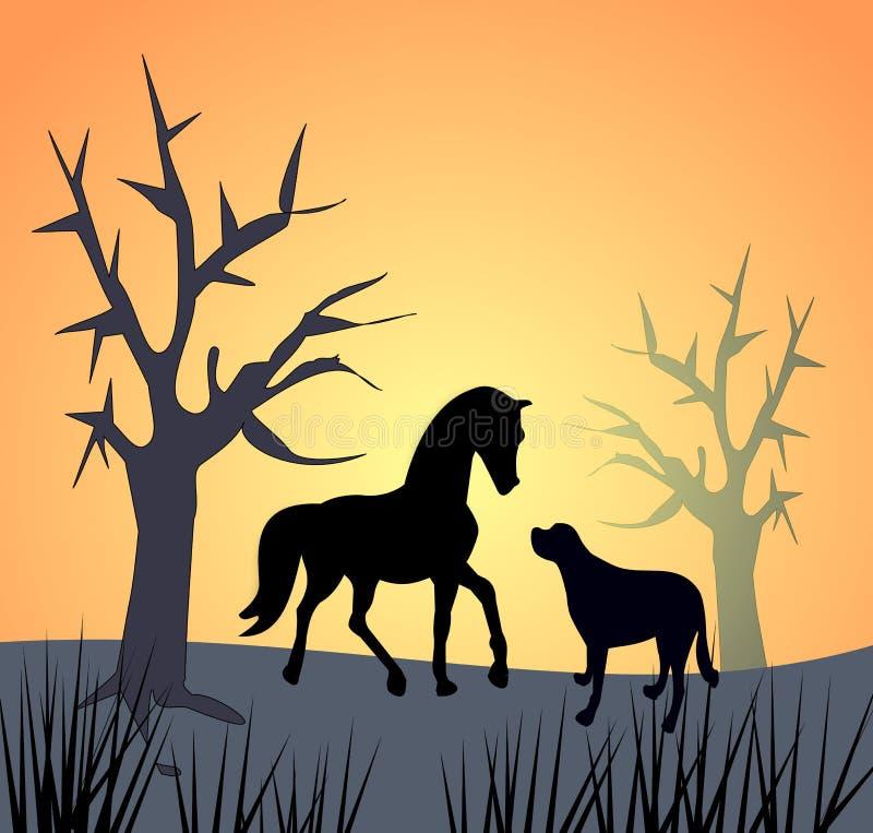 pferd und hund durch sonnenuntergang stock abbildung