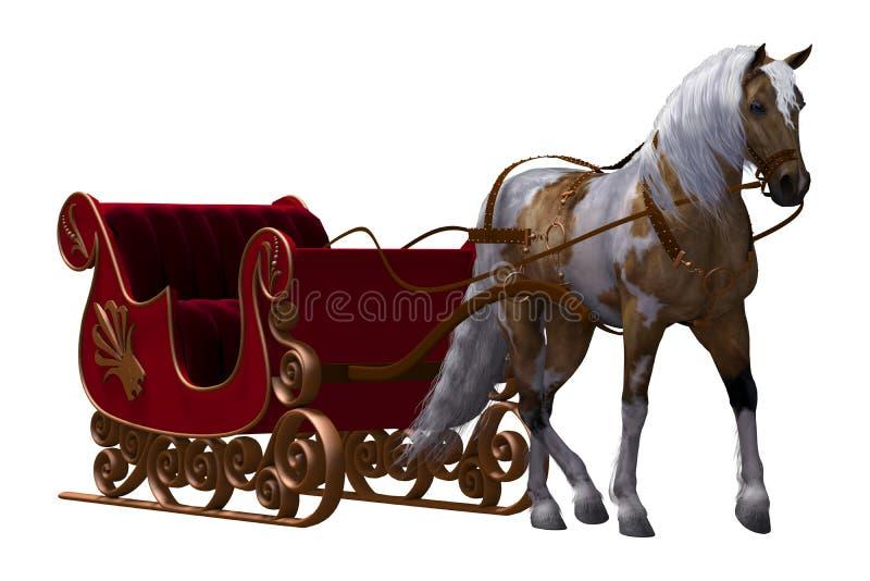 Pferd und Pferdeschlitten lizenzfreie abbildung