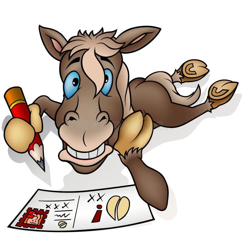 Pferd und Postkarte lizenzfreie abbildung