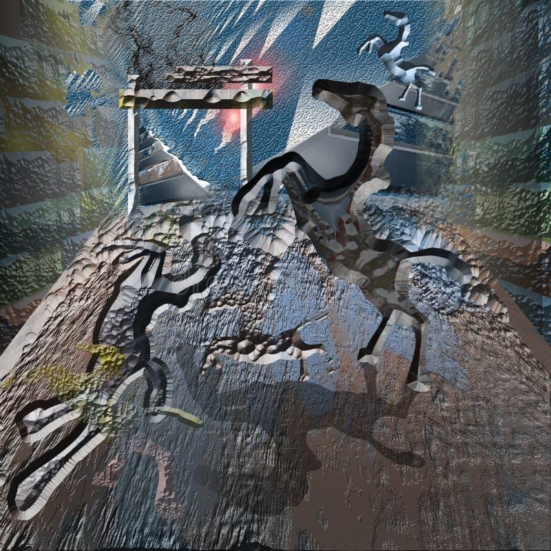 Pferde in der Höhle stockbild