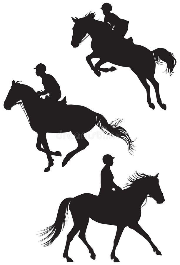 Pferde und Reiter stock abbildung