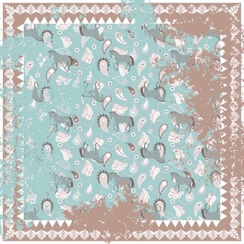 Pferde- und Teppichvektorquadrat Paisleys entwerfen raues lizenzfreie abbildung