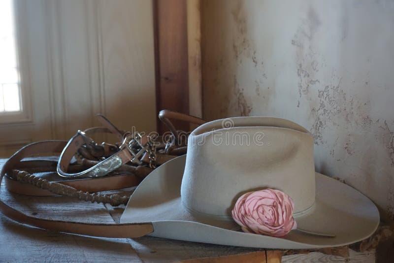 Pferdegurte, Hut mit Blume, Cowboyart stockfotos