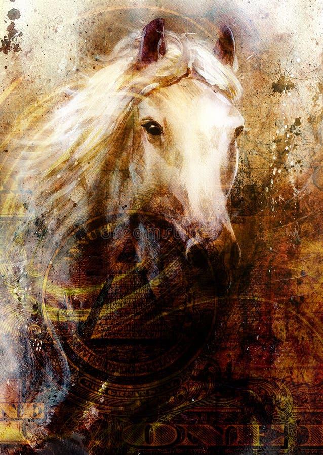 Pferdeköpfe, abstrakter ocre Hintergrund, mit einer Dollarcollage Alte Backsteinmauer lizenzfreie abbildung