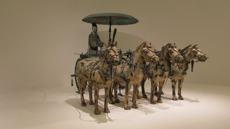 Pferdekampfwagen hergestellt in der Bronze mit Gold- und Silberdekoration lizenzfreie stockfotografie