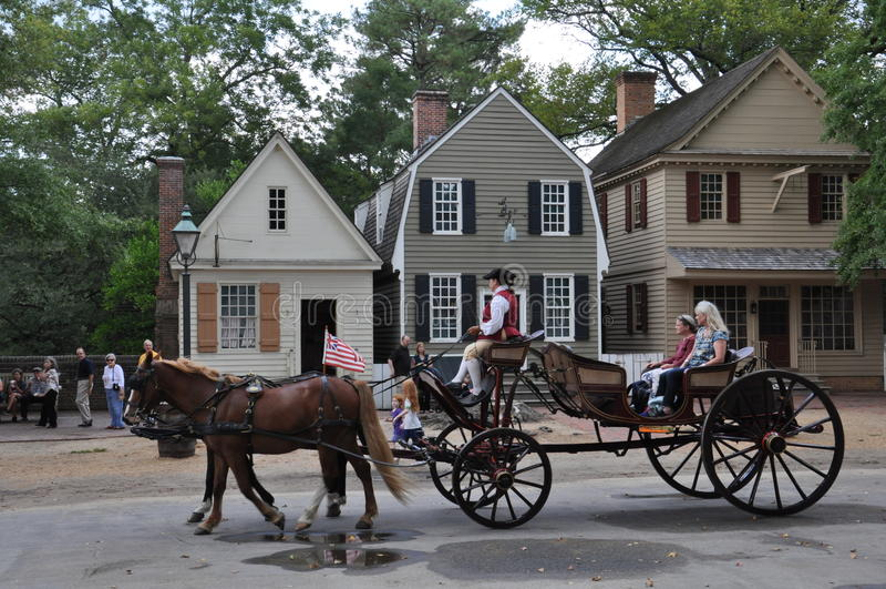 Pferdekutschefahrten in Williamsburg, Virginia lizenzfreie stockfotos