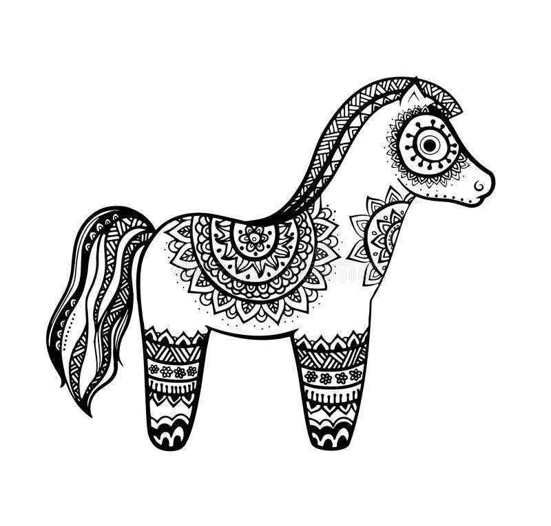 Pferdemandalaerwachsene Antidruck Farbton-Seite stock abbildung
