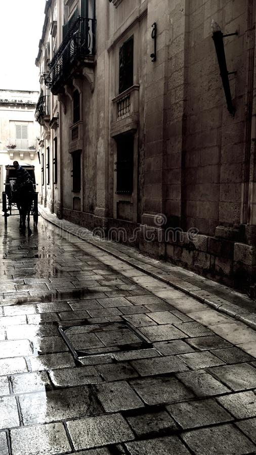 Pferdemann auf einer nassen Straße in Malta stockbild