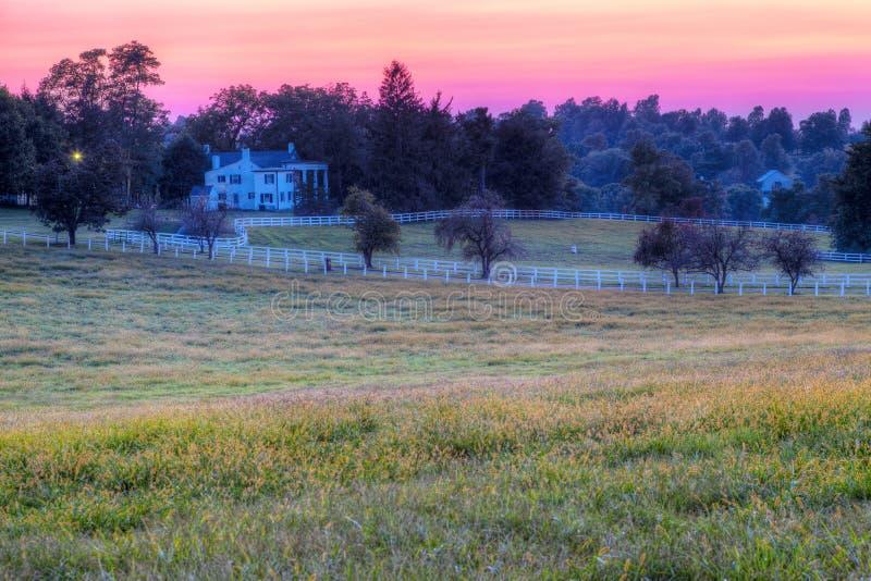 Pferden-Bauernhof-Sonnenuntergang lizenzfreies stockbild