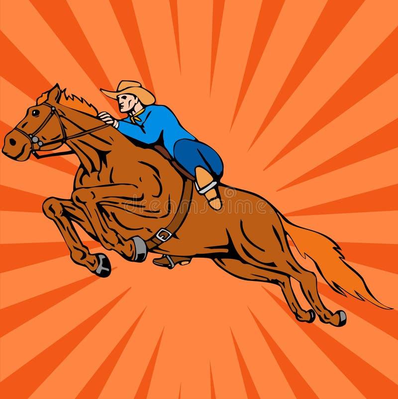Pferden- und Mitfahrerspringen stock abbildung