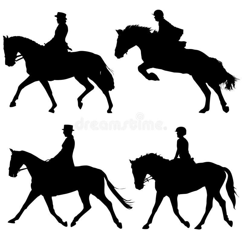 Pferden- und Mitfahrervektor lizenzfreie abbildung