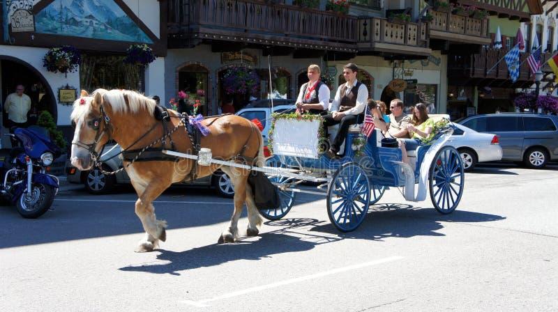 Pferdenwagen in Leavenworth, Washington stockfotos