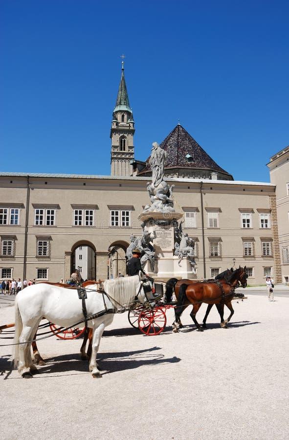 Pferdenwagen in Salzburg stockbilder