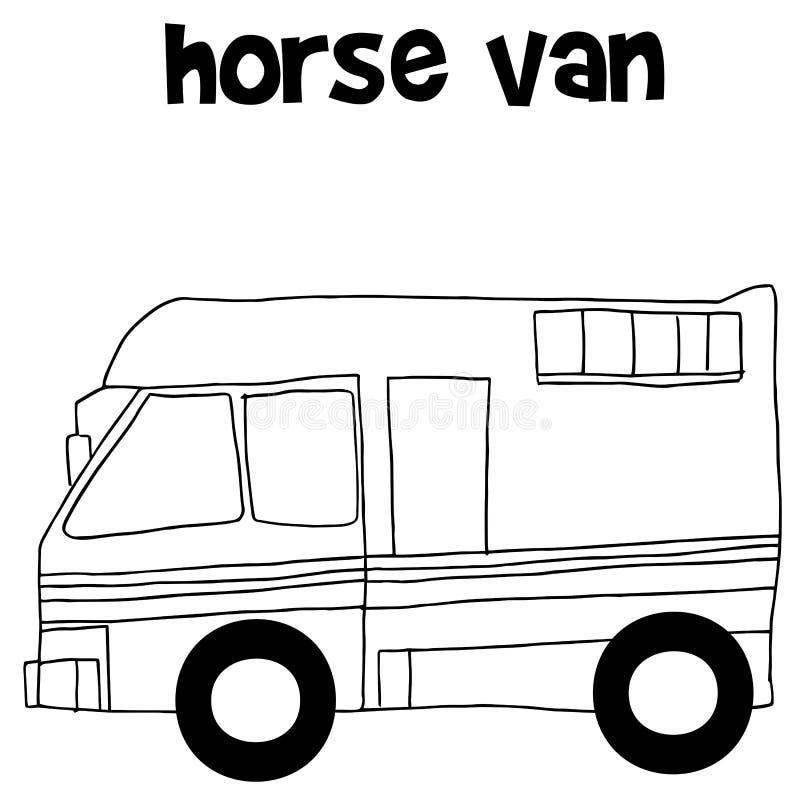Pferdepackwagen mit Handabgehobenem betrag stock abbildung