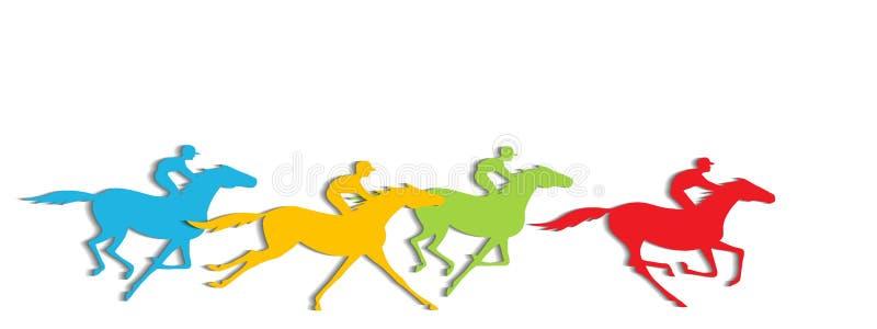 Pferderennen mit Schatten stock abbildung