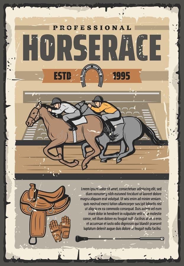 Pferderennensport, Reiter auf Bahn stock abbildung