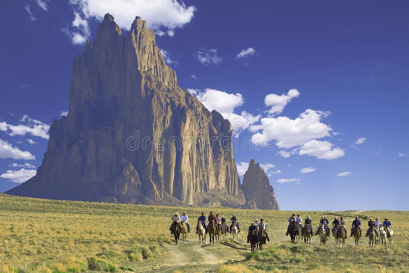 Pferderuecken-Mitfahrer stockfoto