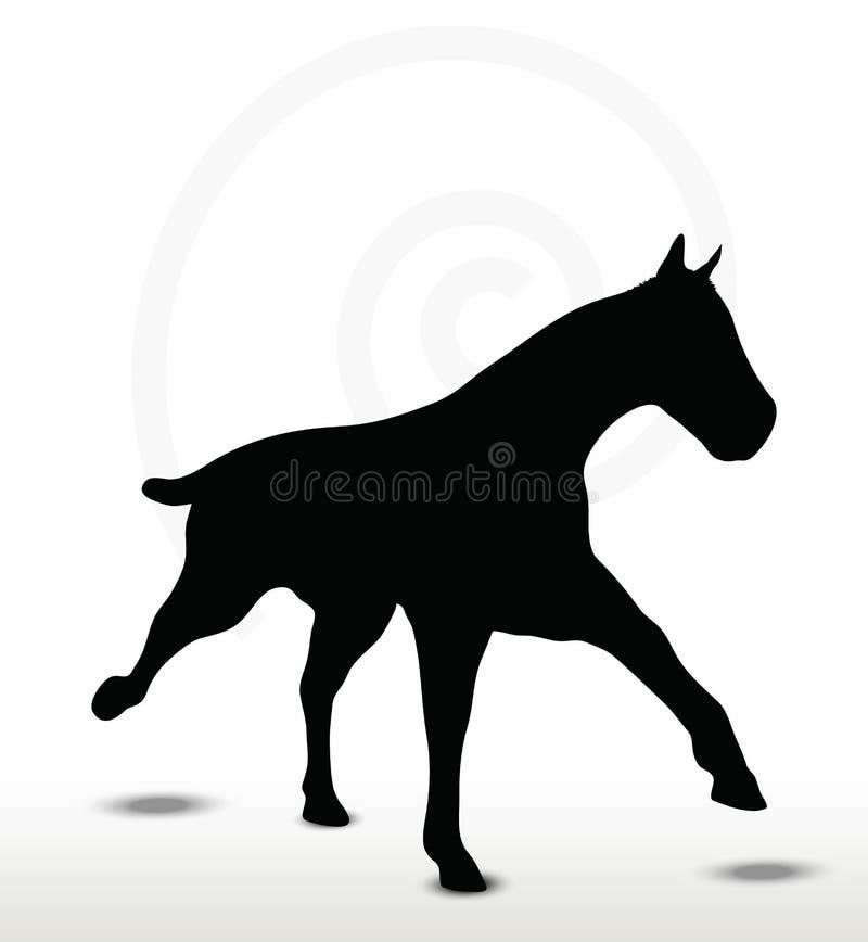 Pferdeschattenbild in Laufposition lizenzfreie abbildung