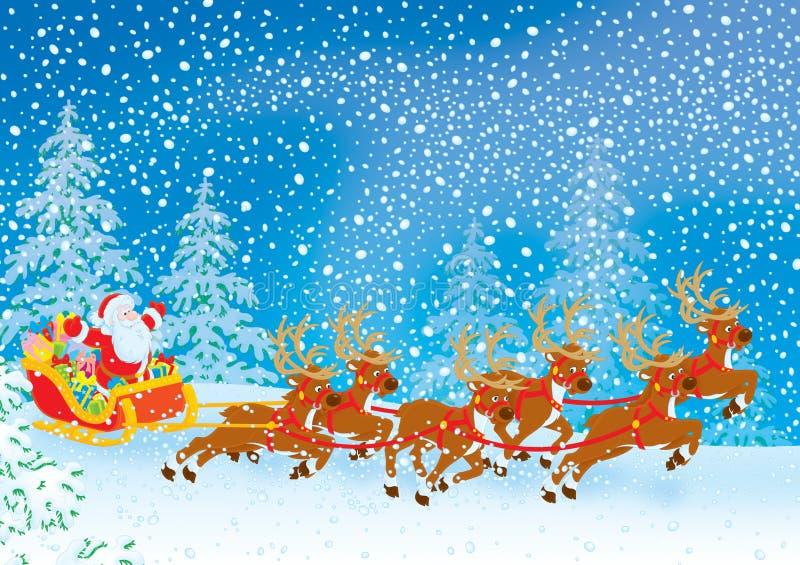 Pferdeschlitten von Weihnachtsmann stock abbildung
