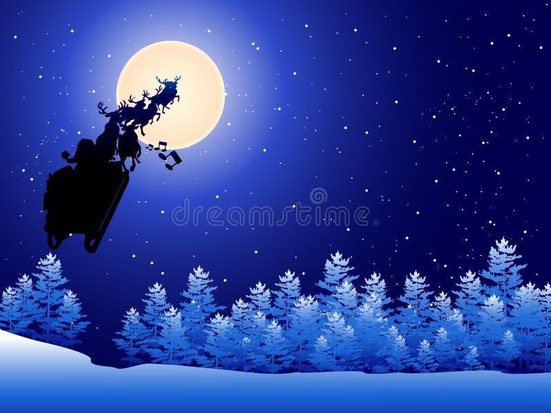 Pferdeschlitten von Weihnachtsmann in einem Himmel stock abbildung