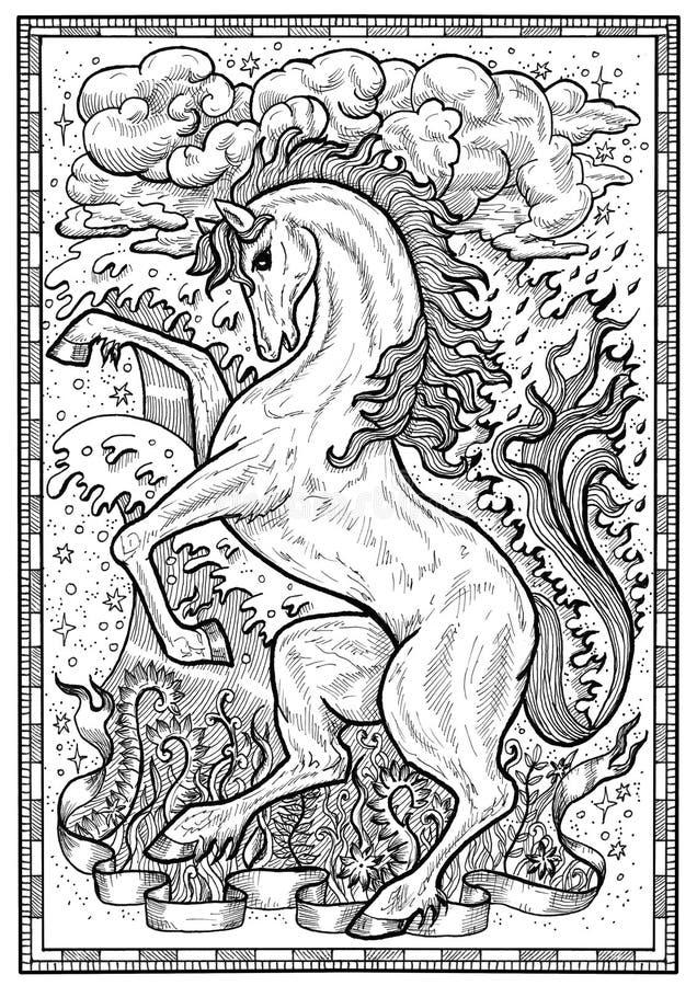 Pferdesymbol mit vier Naturelementen, Feuer, Luft, Wasser und Erde, die mystisch sind, unterzeichnet herein Rahmen lizenzfreie abbildung