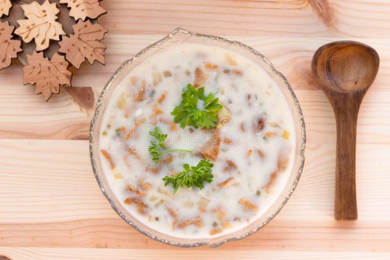 Pfifferlings-Sahnesuppe mit frischen Kräutern stockfotos