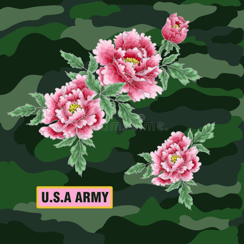 Pfingstrosenblume der japanischen Art Flecken für Stickerei- oder Textildruck stock abbildung