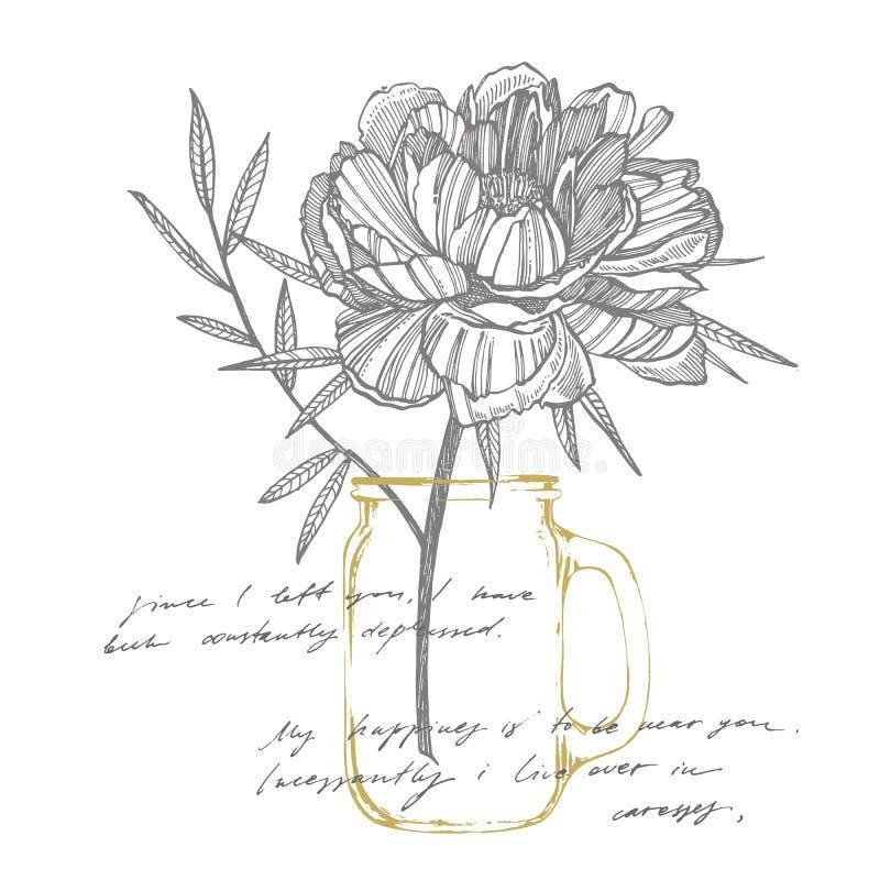 Pfingstrosenblumen- und -blattzeichnen Handgezogener gravierter Blumensatz Botanische Illustrationen Groß für Tätowierung, Einlad lizenzfreie abbildung