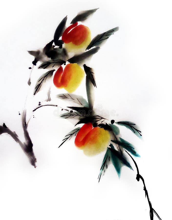 Pfirsich-chinesische Malerei vektor abbildung