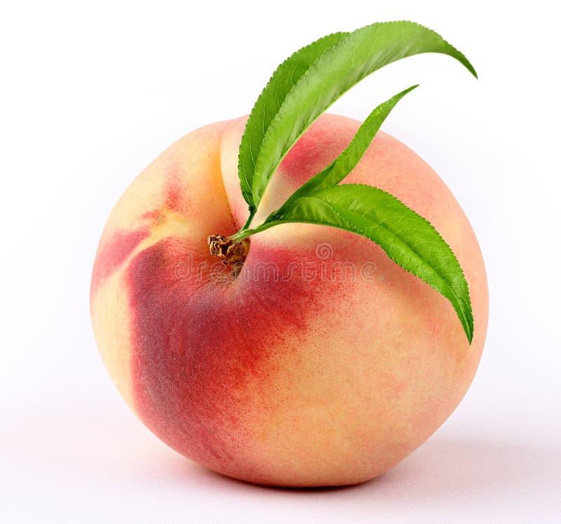 Pfirsich mit Blatt lizenzfreies stockbild