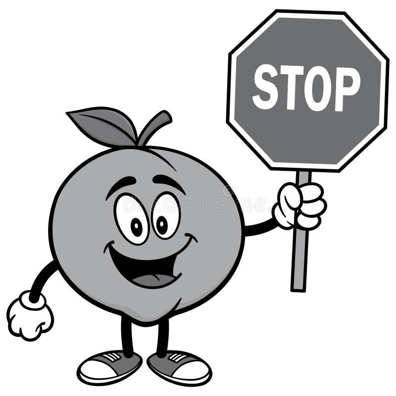 Pfirsich mit Stoppschild-Illustration lizenzfreie abbildung