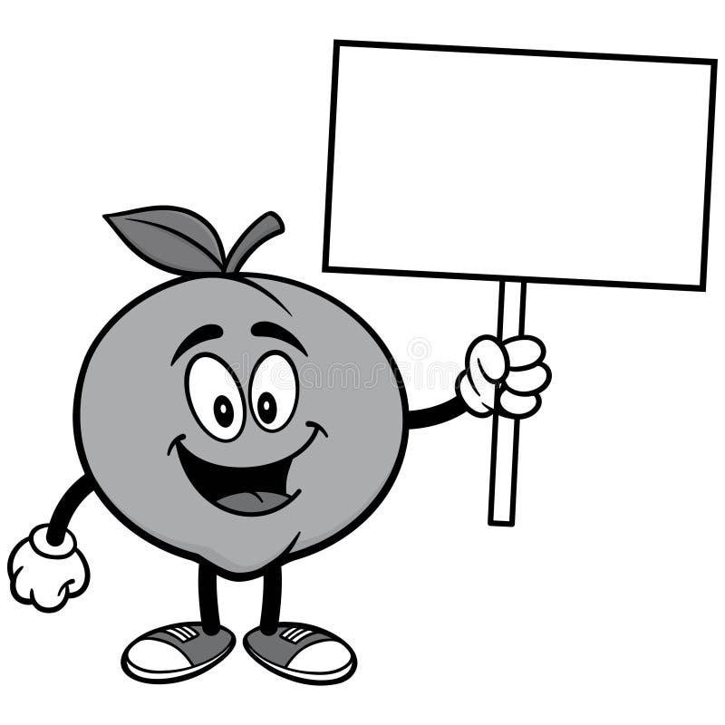 Pfirsich mit Zeichen-Illustration lizenzfreie abbildung