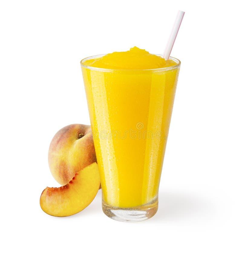 Pfirsich Smoothie auf weißem Hintergrund stockbild