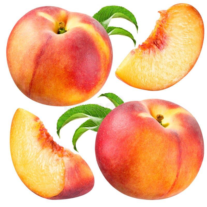 Pfirsich und Scheibe lokalisiert. Sammlung auf weißem Hintergrund stockbild
