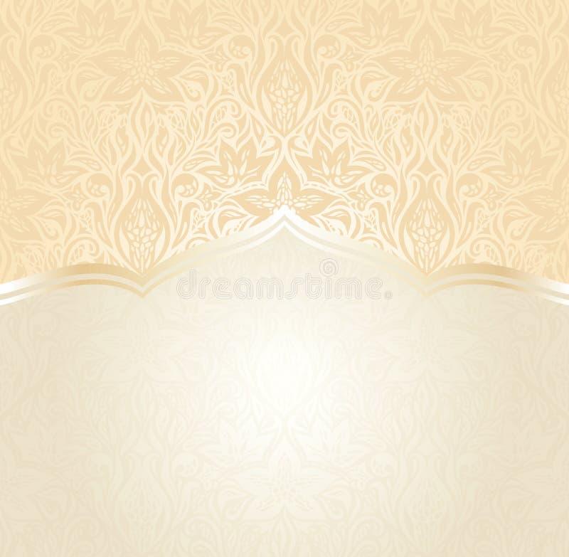 Pfirsichhintergrund-Mandaladesign der Retro- mit BlumenHochzeit blasses vektor abbildung