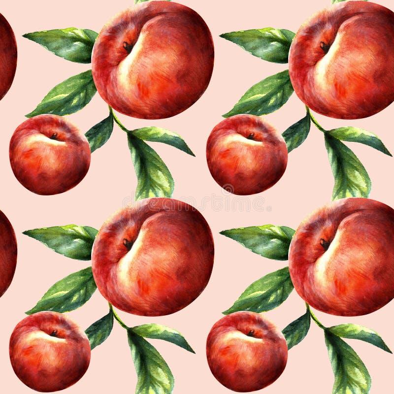 Pfirsichmakrofrucht mit Bl?ttern Tropische Nektarinentapete, saftiges Muster des biologischen Lebensmittels stockfoto