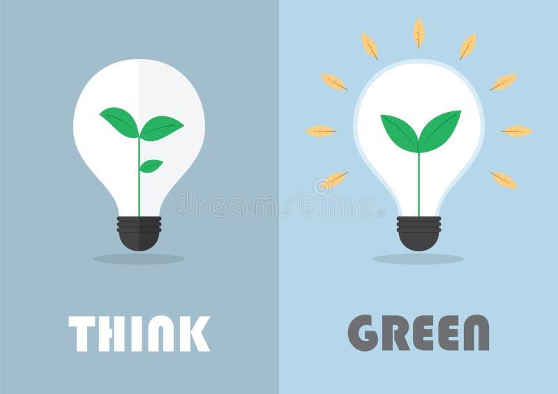 Pflänzchen innerhalb einer Glühlampe, grünes eco Energiekonzept vektor abbildung