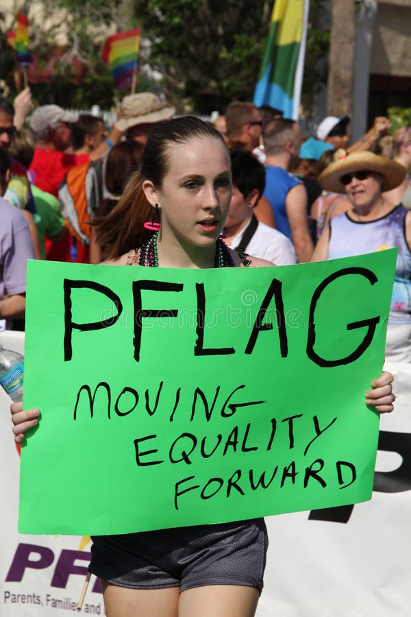 PFLAG at the 10th Annual St. Pete Pride Parade. Parents, Families, & Friends of Lesbians and Gays group participating at the 10th Annual St. Pete Pride Street stock photos