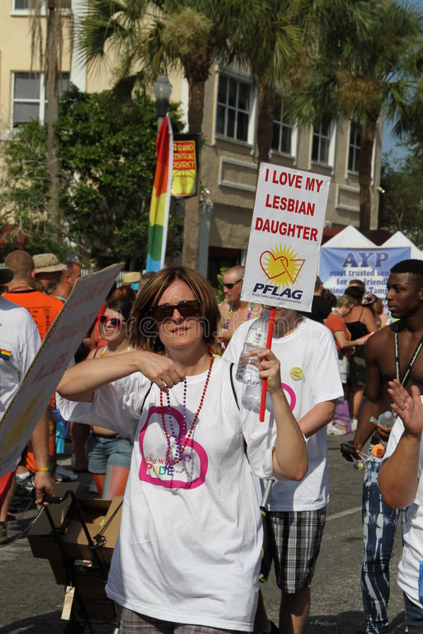 PFLAG at the 10th Annual St. Pete Pride Parade. Parents, Families, & Friends of Lesbians and Gays group participating at the 10th Annual St. Pete Pride Street stock images