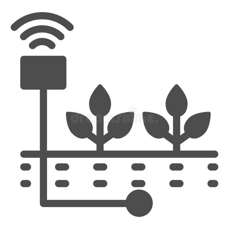 Pflanzen der festen Ikone Sprösslingssorgfalt-Vektorillustration lokalisiert auf Weiß Beschmutzen Sie den Feuchtigkeit Glyph-Arte vektor abbildung