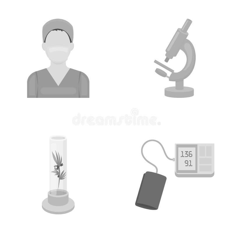 Pflanzen Sie in vitro, Krankenschwester, Mikroskop, tonometer Vector gesetzte Sammlungsikonen der Medizin in der einfarbigen Art  stock abbildung