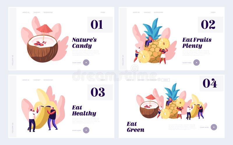 Pflanzenkost, gesunder Nahrungsmittelwebsite-Landungs-Seiten-Satz, kleine Mann-und Frauen-Charaktere und enormes Frucht-Kokosnuss stock abbildung
