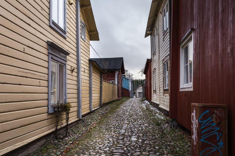 Pflasterstraße in altem Porvoo, Finnland stockfoto