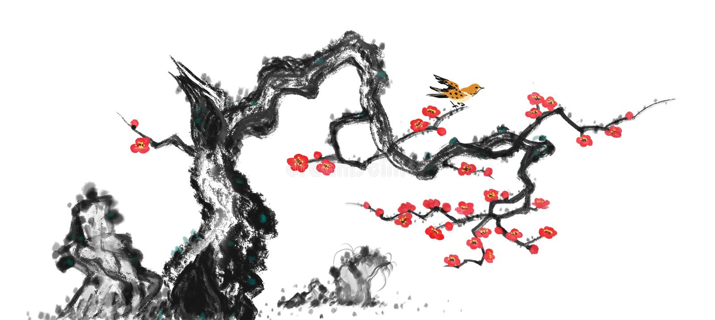 Pflaumenblüten und Vogeltinte chinesische Malerei stockfoto