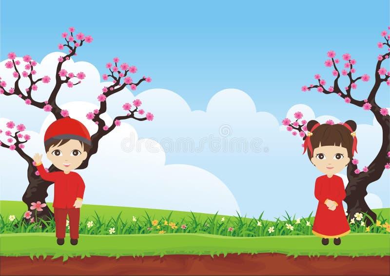 Pflaumenblütenbaum mit dem Kind mit zwei Chinesen und schöner Landschaft stock abbildung