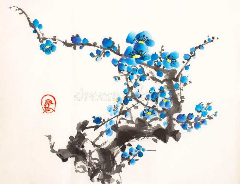Pflaumenblütenniederlassung stock abbildung