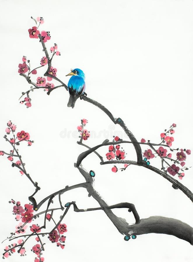 Pflaumenblütenniederlassung und -vogel vektor abbildung