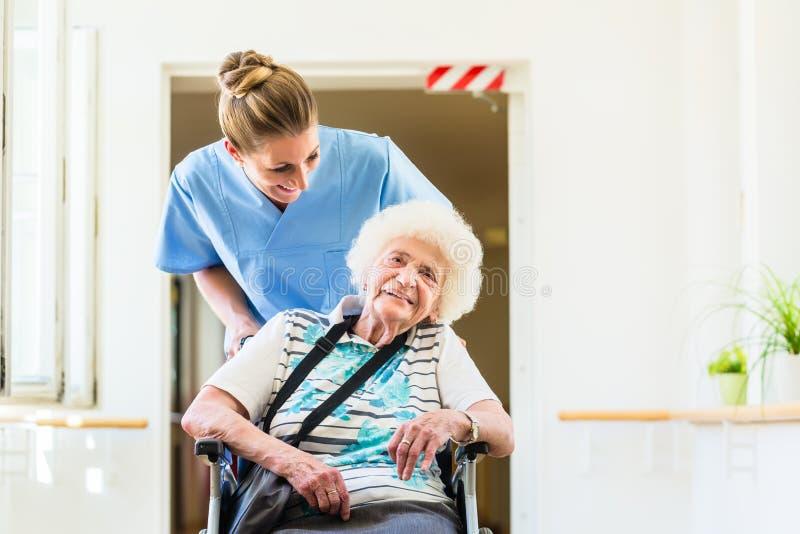 Pflegekraft mit älterem Patienten im Rollstuhl lizenzfreies stockbild