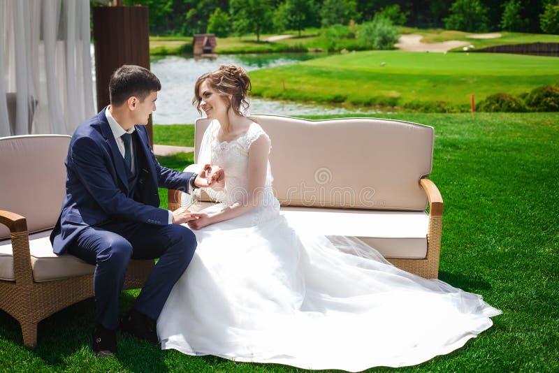 Pflegen Sie das Sitzen mit junger Braut in der Natur und das Halten ihrer Hand stockfoto