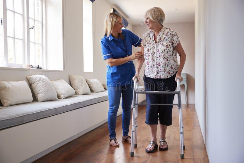 Pflegen Sie helfende ältere Frau, einen gehenden Rahmen zu benutzen stockbild